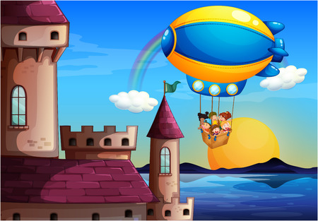 Illustration of a floating balloon with kids going to the castle on a white background Vector