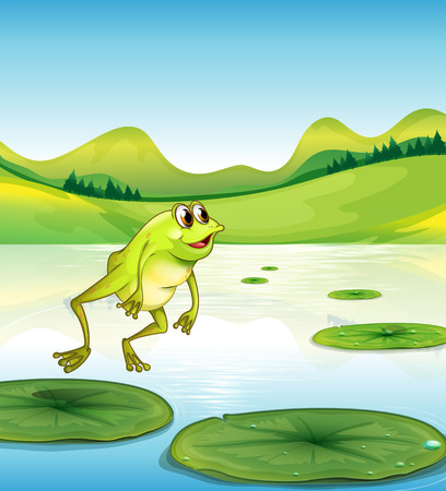 Illustration of a pond with a frog jumping Vector