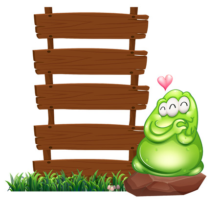 Illustration of a green monster beside the empty wooden boards on a white  Vector