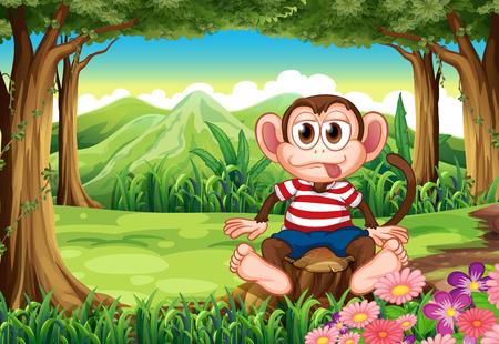 boastful: Illustration of a boastful monkey sitting above the stump Illustration