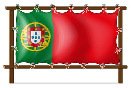 drapeau portugal: Illustration d'un cadre en bois avec le drapeau du Portugal sur un fond blanc