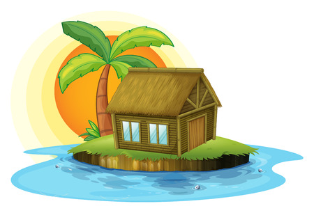 Illustration of an island with a bamboo house on a white background Vector
