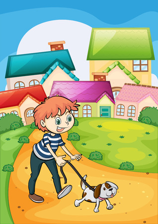 Illustration of a boy strolling with his pet Vector