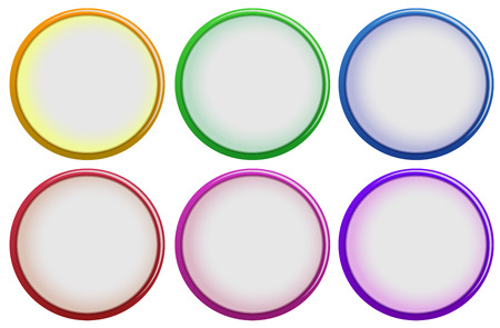 beautification: Illustration of the six colorful buttons on a white background