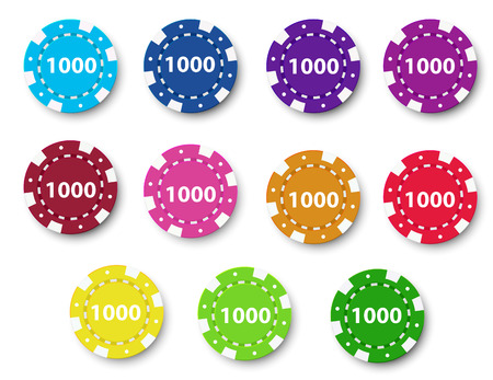 poker chip: Illustration of a group of poker chips on a white background