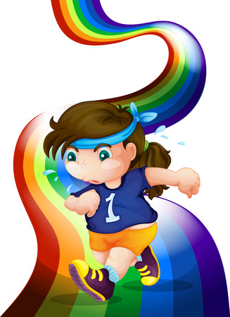 Illustration of a woman jogging at the rainbow on a white background Vector