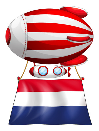 tricoloured: Illustration of a balloon with the flag of Netherlands on a white background Illustration
