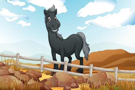 wooden horse: Illustration of a smiling gray horse near the wooden fence