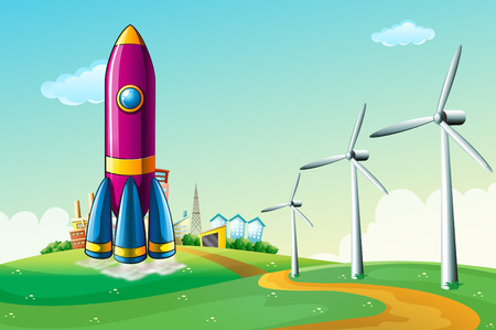 hilltop: Illustration of a hilltop with a rocket near the windmills Illustration