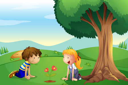 Illustration of a girl and a boy watching the plant grow Vector