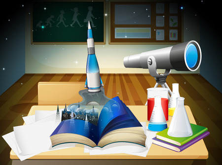 greenboard: Illustration of a laboratory room with a book and laboratory equipments
