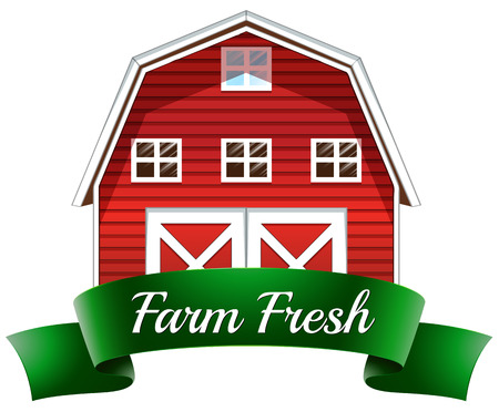 art door: Illustration of a farm fresh label with a red wooden house on a white