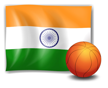 Illustration of the flag of India with a ball on a white  Vector