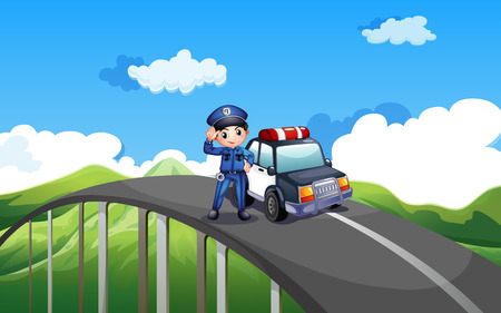 roadtrip: Illustration of a policeman and his patrol car in the middle of the road