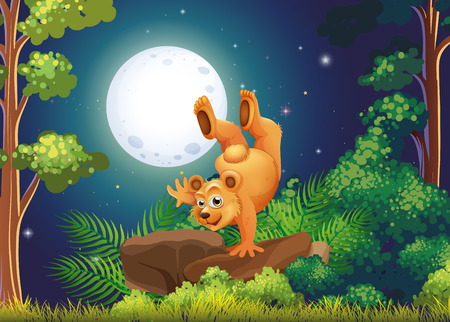 Illustration of a forest with a playful bear above the rocks Vector
