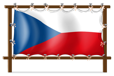 tricolour: Illustration of the flag of Czech Republic attached to the wooden frame on a white