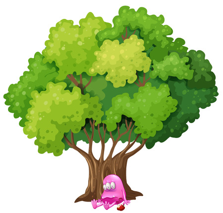 poisoned: Illustration of a poisoned pink monster under the tree on a white