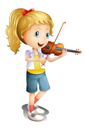 흰색에 그녀의 바이올린을 가지고 노는 소녀의 그림 일러스트