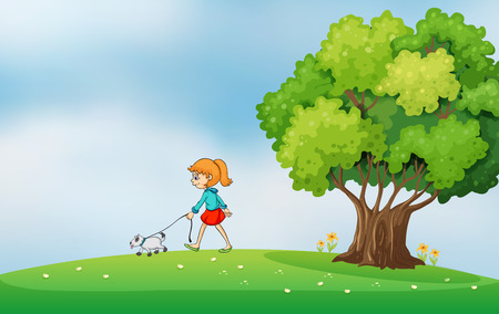 bestfriend: Illustration of a girl walking with her dog at the hilltop