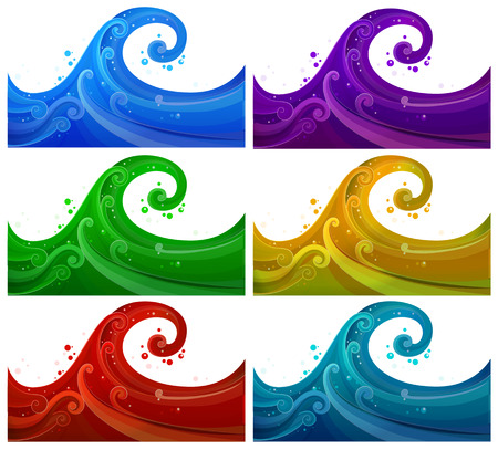 wavelengths: Illustration of the six colorful waves on a white background
