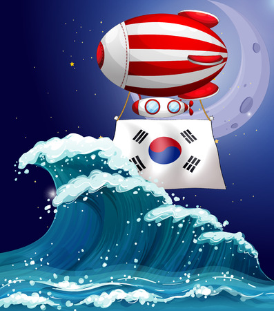angle bar: Illustration of a floating balloon with the South Korean flag