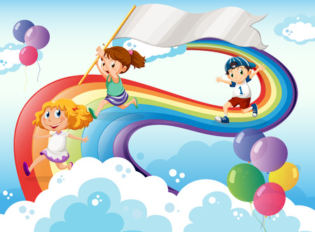 Illustration of the kids playing above the rainbow with an empty banner Vector