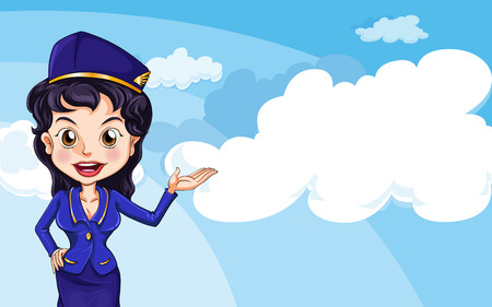 Illustration of an air hostess in the sky Vector