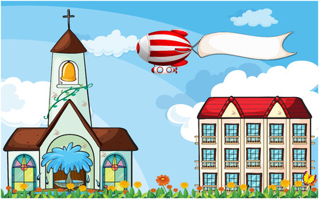 bell tower: Illustration of a balloon with an empty banner flying near the church