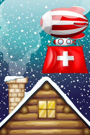 elliptic: Illustration of a floating balloon with the flag of Switzerland Illustration
