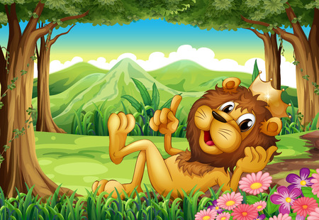 Illustration of a king lion at the forest