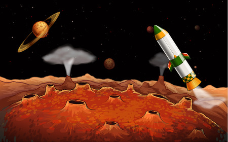 outerspace: Illustration of a rocket in the outerspace