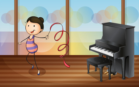 practicing: Illustration of a gymnast inside the music room