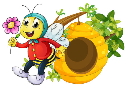 Illustration of a bee holding a flower on a white background Vector
