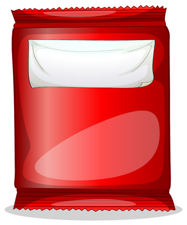 labelling: Illustration of a red packet with an empty label on a white background