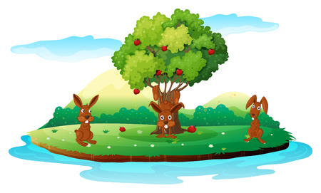 Illustration of an island with three playful rabbits on a white background Vector