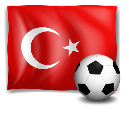 Illustration of the flag of Turkey with a soccer ball on a white background