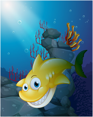sea creatures: Illustration of a smiling big shark under the sea on a white background Illustration