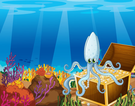 Illustration of a treasure box under the sea with an octopus Vector