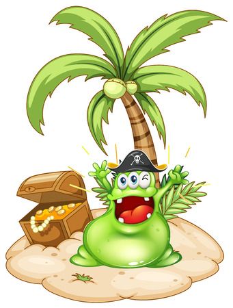 Illustration of a happy green monster in an island with a treasure box on a white background Vector