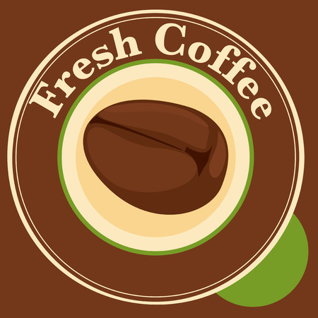 Illustration of a fresh coffee label with coffee bean Vector