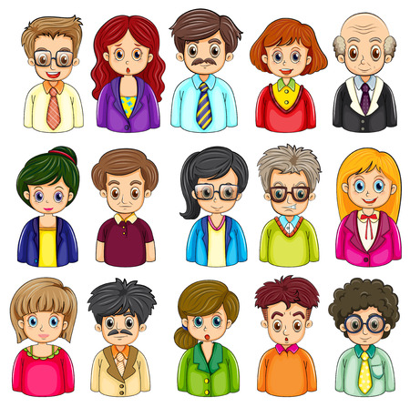 Illustration of a group of people on a white background Vector