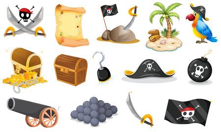 Illustratie van de dingen die verband houden met een piraat op een witte achtergrond Stock Illustratie