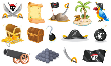 island clipart: Illustration of the things related to a pirate on a white background
