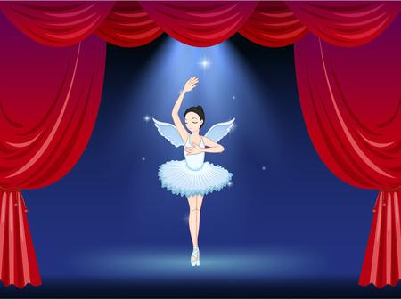 tanzen cartoon: Illustration einer Ballett-Tänzerin in der Mitte der Bühne