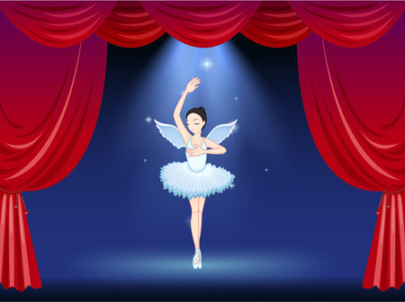 limelight: Illustration of a ballet dancer in the middle of the stage Illustration