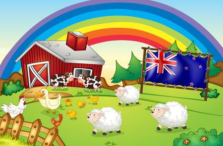 newzealand: Illustration of a farm with a rainbow and a framed flag of New Zealand