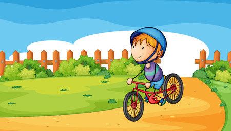 Illustration of a young boy biking outdoor