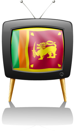 Illustration of the flag of Sri Lanka inside a TV screen on a white background Vector
