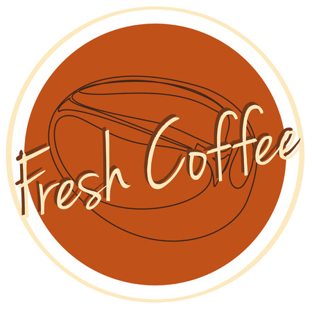 labelling: Illustration of a fresh coffee label on a white background Illustration