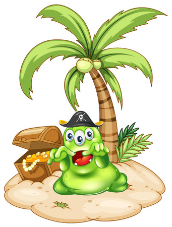 Illustration of an island with a pirate monster on a white background Vector